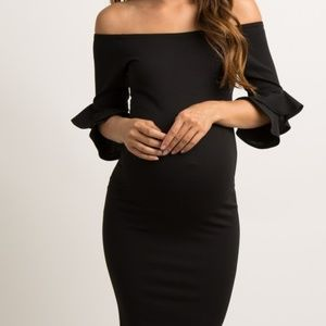 Black Layered Flounce Sleeve Fitted Maternity Dres